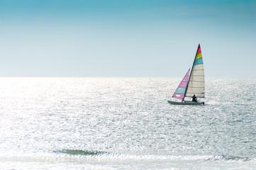 Catamaran on sea