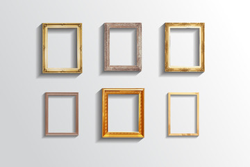Set of vintage classic picture wood frame,EPS vector