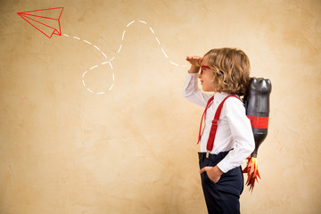 Young businessman with jetpack