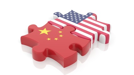 Jigsaw puzzle pieces, flag of USA and flag of China, isolated on white.