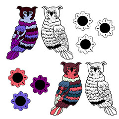 Vector hand drawn varicolored owl. Print for t-shirt or other clothing