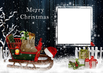Christmas greeting card with sled and gifts