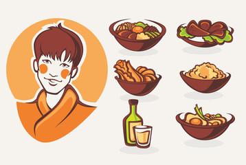 vector collection of korean food symbols