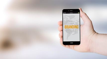 mobile brandings on user´s hand
