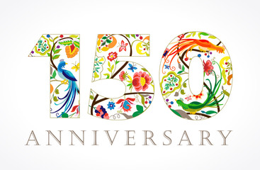150 anniversary ethnic numbers. The template logo of 150 birthday in vintage patterns with flowers and the birds of paradise.