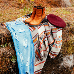 Romantic country style. Trendy autumn look