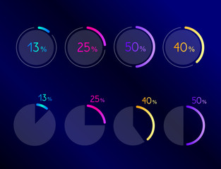 Exclusive dark blue bussiness pie circle chart, graph. Line design. Infographic.