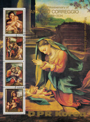 """DPR KOREA - CIRCA 1983: mail stamp printed in DPR Korea to the 450th anniversary of Antonio Correggio, souvenir sheet with reproductions of his paintings, """"Madonna with child"""", """"Morning"""", and other"""