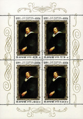 postage stamp/ DPR KOREA - CIRCA 1977: mail stamp printed in DPR Korea featuring self-portrait by Peter Paul Rubens, coupling of four stamps with perforation, circa 1977