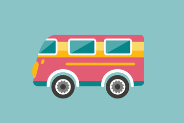 Retro bus, holiday van. Cartoon illustration. Vector.