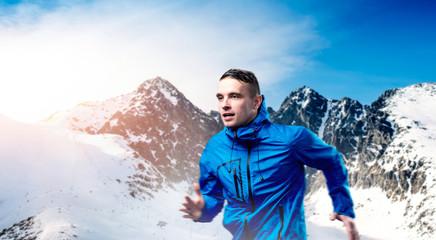 Man running in mountains