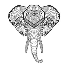 Zentangle stylized elphant head. Sketch for tattoo or t-shirt.