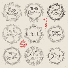 Christmas wreath set for logo design. Hand drawing vector illust