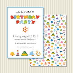 Cute birthday invitation card with sea symbols