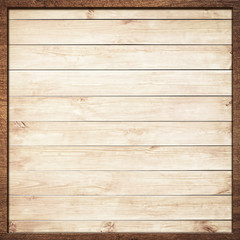 Brown wooden frame screwed on light wall planks
