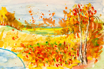 a child's drawing of the forest lake and sky in autumn