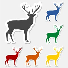 Deer sticker with long shadow set