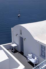 Traditional white house and sea view terrace, Oia, Santorini isl