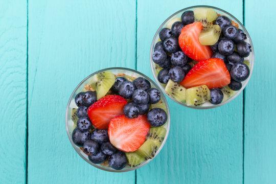 Muesli and yogurt with berries
