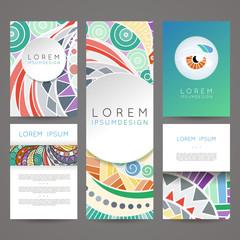 Set of vector design templates. Brochures in random colorful