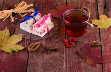 Tea and fruit candy on a table