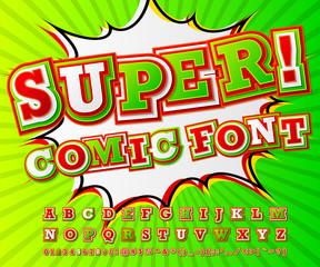 Colorful high detail comic font, alphabet. Comics, pop art