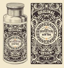 Retro design with bottle. Vector.