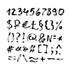 Typographic characters and symbols in calligraphy brush