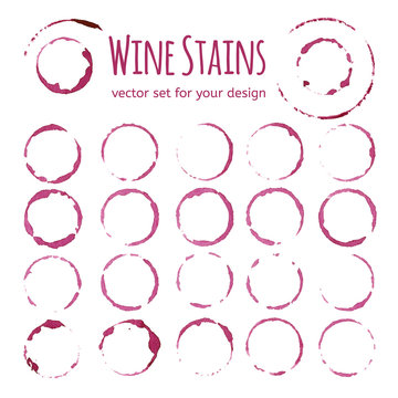 Set of red wine stains