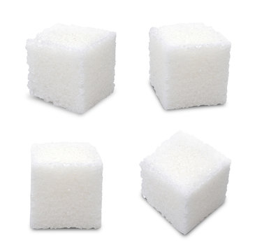 Set of sugar cubes on white background