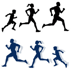 family jogging silhouettes