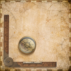old nautical map with compass and ruler