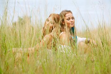 two happy hippie girls