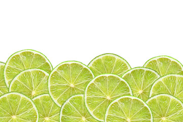 fresh lime slices on white background