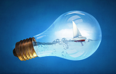 Bulb with boat inside