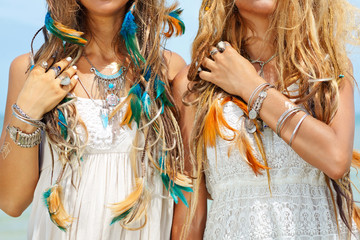 hippie girls close up