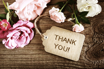 Thank You message with small roses