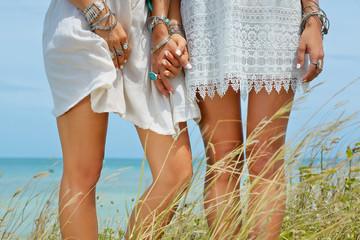 hippie girls close up