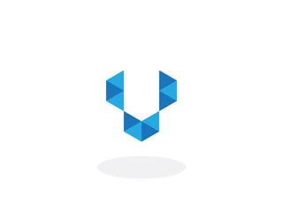 v Letter Blue Geometric Logo