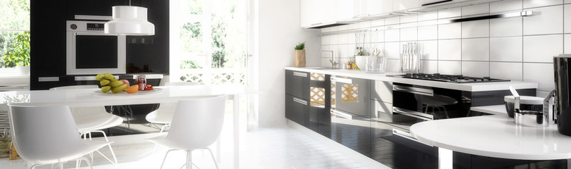 Cute designed kitchen (panoramic)