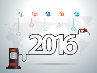 2016 new year ideas concept with gasoline pump nozzle