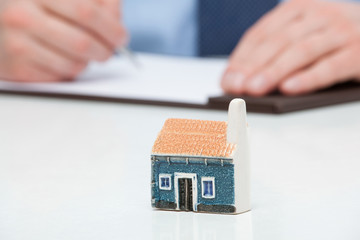 Businessman planning a purchase a house