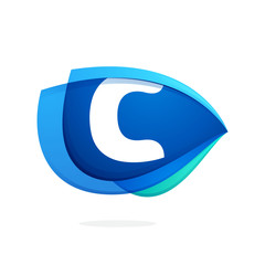 C letter logo with blue wing or eye.