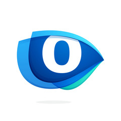 O letter logo with blue wing or eye.