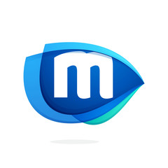 M letter logo with blue wing or eye.
