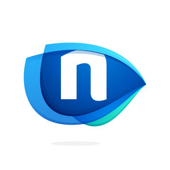 N letter logo with blue wing or eye.