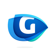 G letter logo with blue wing or eye.