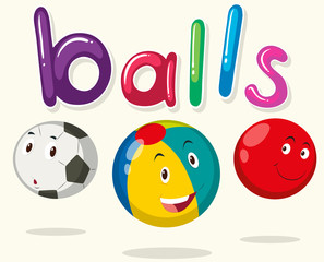 Balls with happy faces