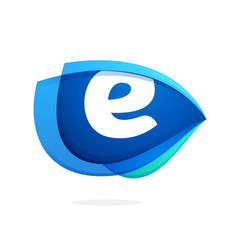 E letter logo with blue wing or eye.