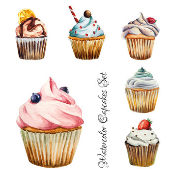 Watercolor cupcakes set, isolated